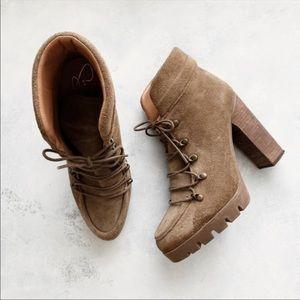 Report Signature Tan Lug Sole Heels Boots